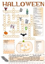 English Worksheet: Halloween Fun + Pumpkin Crossword + 8 activities + BW + CW for older + BOOKMARKS + 6 game rules + KEY ((6_PAGES)) -  A2 level