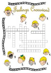 Feelings Crossword Puzzle B/W version Included! +  Answer Key