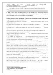 English Worksheet: FCE TEST - OPEN CLOZE AND KEY WORD TRANSFORMATION (USE OF ENGLISH)