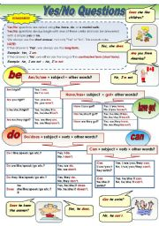 English Worksheet: Yes/No questions - present tense - grammar-guide