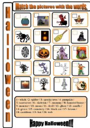 English Worksheets: Halloween matching.