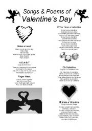 English Worksheet: Valentine´s Day Songs and Poems (Part 1)