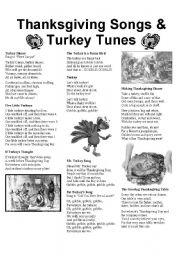 English Worksheet: Thanksgiving Songs & Turkey Tunes