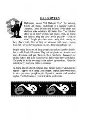 ESL kids worksheets: Halloween story