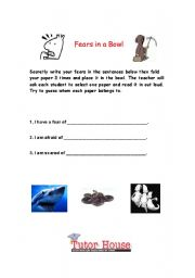 English Worksheets: Fears in a Bowl