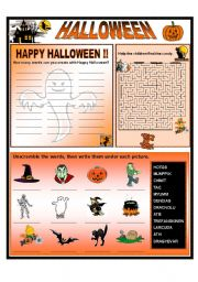 English Worksheets: HAPPY HALLOWEEN !!  3 activities  B & W version included
