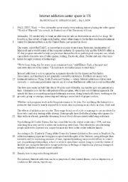 English Worksheet: Reading Comprehension Exercise: Internet Addiction News Article