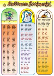 English Worksheets: SUPER HALLOWEEN BOOKMARKS! - bookmarks with common irregular vberbs and irregular verbs divided into groups easy to remember (5 bookmarks)