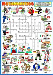 NATIONALITIES  CROSSWORD (KEY AND B&W VERSION INCLUDED)