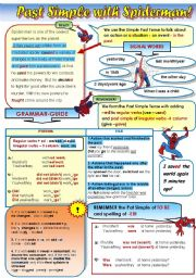 English Worksheet: PAST SIMPLE WITH SPIDERMAN- GRAMMAR-GUIDE FOR TEENS! - 1 page(form and use)-
