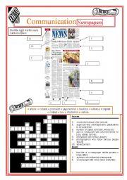 English Worksheet: Communication -  Newspapers