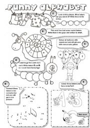 English Worksheets: FUNNY ALPHABET! - 6 different alphabet activities for young learners