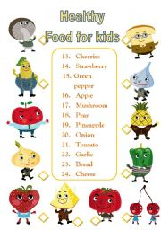 English Worksheet: Healthy Food for Kids+ B&W version.
