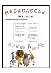 English Worksheet: Movie Session: Madagascar Worksheet # 2
