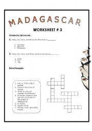 English Worksheet: Movie Session: Madagascar Worksheet # 3 + Key