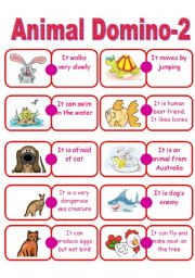 English Worksheet: Animal Domino