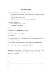 English Worksheets: 1st day of Class rules
