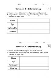 English Worksheets: Information Gab