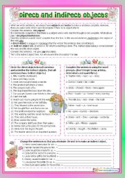 English Worksheet: Direct and Indirect Objects