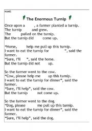 English Worksheets: The Enormous Turnip - advanced cloze