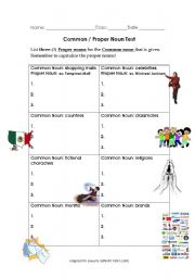 English Worksheets: Common Nouns
