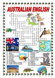 English Worksheets: Australian English - crossword