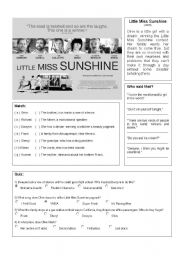 English Worksheets: video quiz - little miss sunshine
