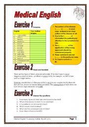 English worksheet: 5 pages/12 exercises Medical English Vocabulary builder.