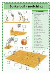 English Worksheet: Basketball - matching exercise
