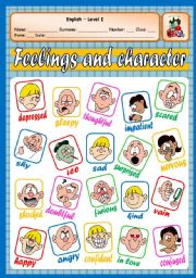 English Worksheet: FEELINGS AND CHARACTER