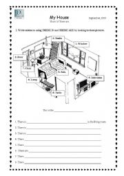 English Worksheet: The living room/ There is, There are