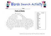 English Worksheets: parts of body (word search activity)
