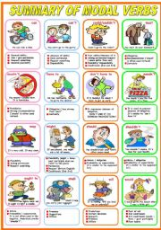 SUMMARY OF MODAL VERBS (B&W VERSION INCLUDED)