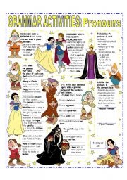 English Worksheet: PRONOUNS (SUBJECT - OBJECT & POSSESSIVE) EASY GRAMMAR REFERENCE + ACTIVITIES