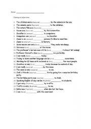 English Worksheet: Participial adjectives