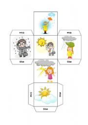 English Worksheet: DICE - DESCRIBE THE WEATHER AND CLOTHING