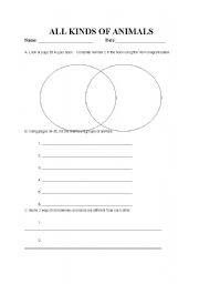 English Worksheets: Animals Types Worksheet