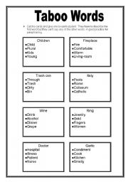 taboo words esl worksheet by ramon moravski