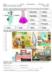 English Worksheet: Listening Test: Prepositions of location