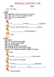 English Worksheets: Making a phone call