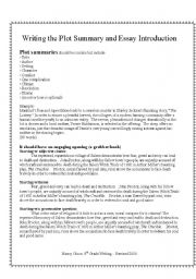 English worksheets: directions for writing a plot summary