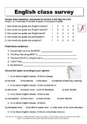 English Worksheet: ENGLISH CLASS SURVEY