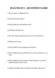 English Worksheet: Malcolm X Questionnaire