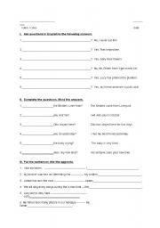 English Worksheets: questions questions questions