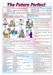 English Worksheet: The future perfect - Grammar guide & lots of exercises (fully editable - keys included)