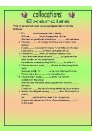 Collocations. One word for three sentences. One exercise and 20 definition cards for advanced students. Key and ideas for use on page 14