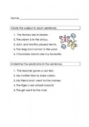 English Worksheets: Subject and Predicate