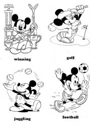 English Worksheet: sports - Mickey Mouse (part 1)