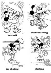 English Worksheet: sports - Mickey Mouse (part 2)
