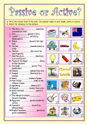 English Worksheets: passive - active (1/2)